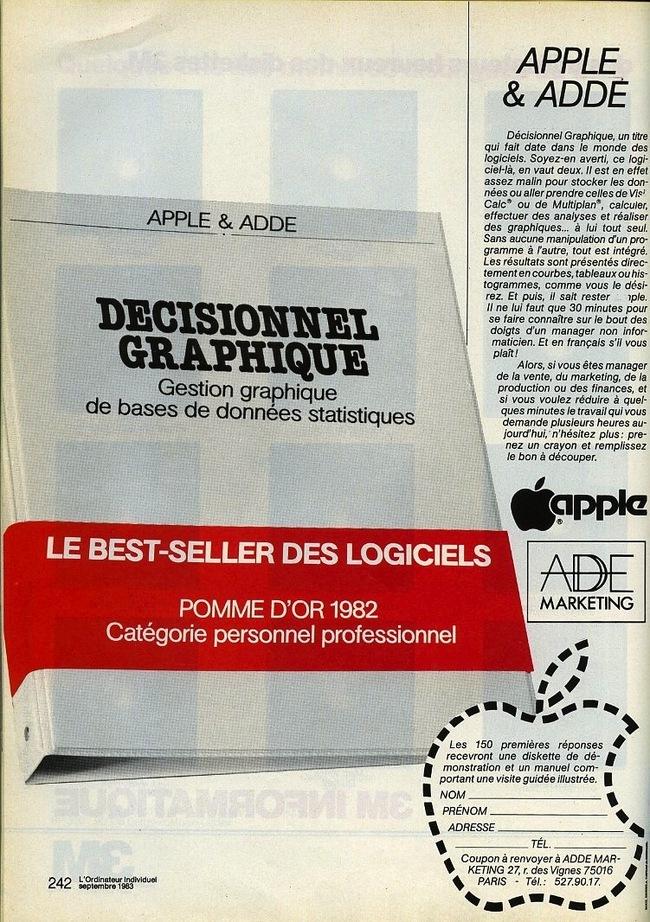 En 1983, Apple et ADDE lancent Décisionnel Graphique
