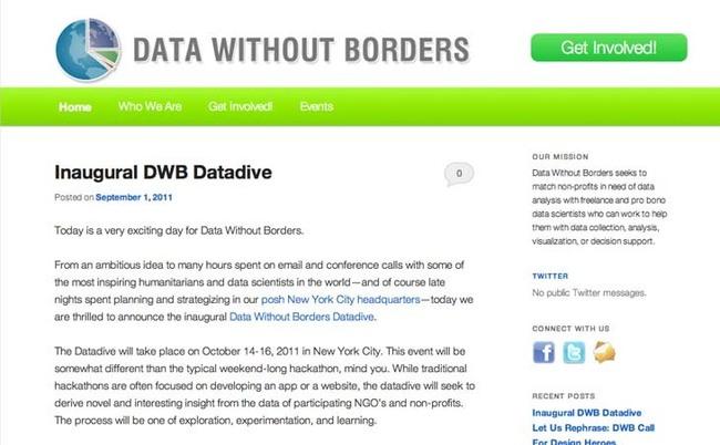 Données sans frontières (Data Without Borders), une ONG pour analyser les données