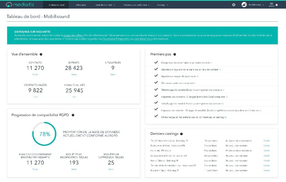 Mobilis Pro lance Mediartis, la première plateforme mettant au diapason le traitement des « data-voix » des comédiens avec le Règlement Général de Protection des Données