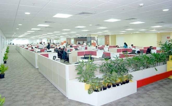 Les bureaux de Mu Sigma proches de la technopole de Bangalore en Inde