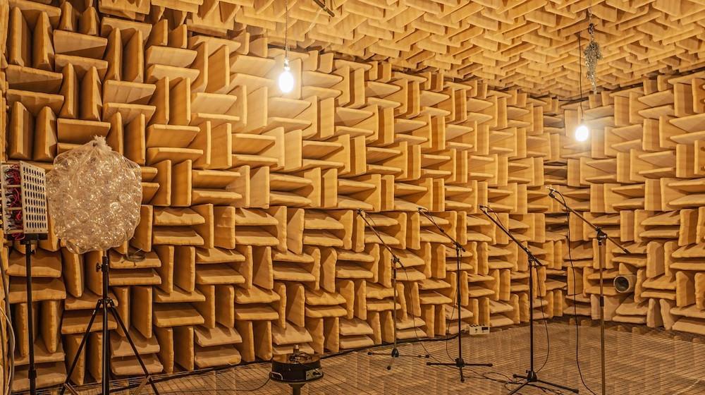 A gauche, le réseau de haut-parleurs. Devant, le métamatériau acoustique qui encode l'information. A droite, les microphones utilisés pour imager la source. @Bakhtiyar Orazbayev/EPFL