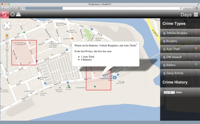 Le logiciel Predpol indique les zones à surveiller d'après l'analyse de l'historique des crimes dans la ville.
