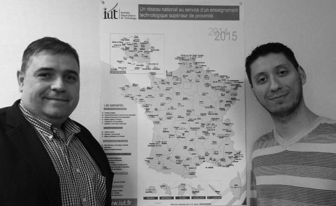 Mickael Spennato (à droite), Chargé d'études statistiques & Christophe Viton, Directeur de l'IUT Lyon 1 et vice-président en charge de la commission Pilotage, Moyens, Statistiques  de l'Assemblée des Directeurs d'IUT (ADIUT)