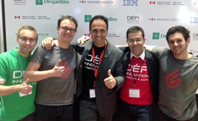 Massimo Caccia, Cédric Toncanier et Jonathan Muschalle, accompagnés de leur coach Michael Albo et de Federico Puebla, Desjardins