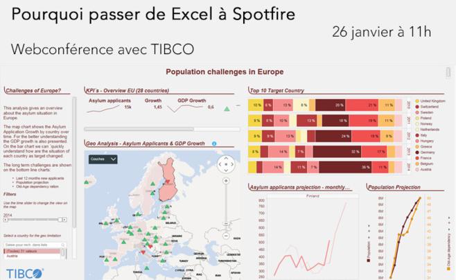 26 janvier à 11h - Webinaire TIBCO <br>Pourquoi passer d'Excel à Spotfire ?