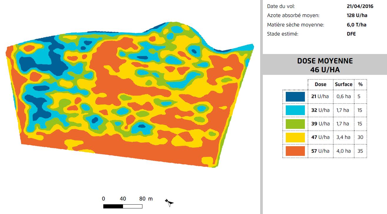 Carte de zonage détaillée indiquant les différentes quantités d'azote à apporter sur un champ de céréales à paille de 11 hectares, fournie par AIRINOV.