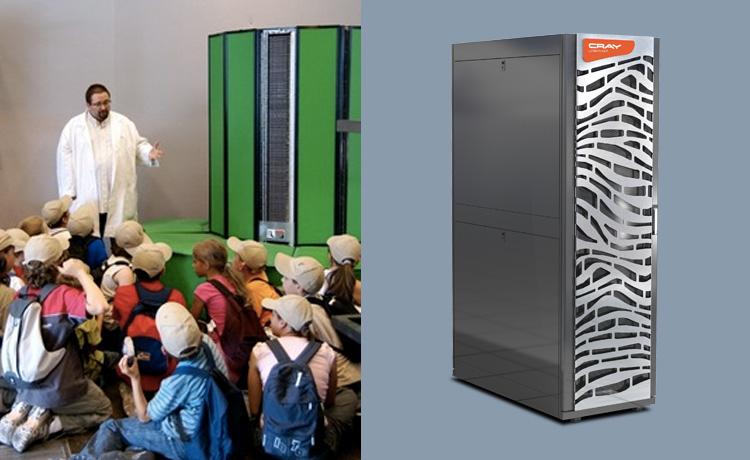 A gauche, le Cray XMP du musée de l'informatique en 2010 / A droite la nouvelle machine Cray Urika-GX